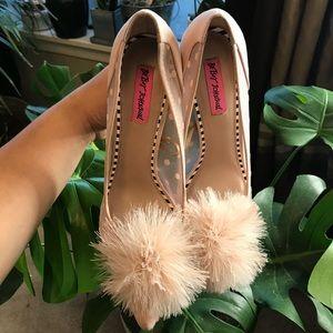 Betsy Johnson Pink Pom Mesh Heels